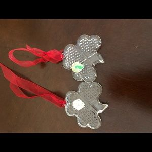Waterford Crystal Accents - 1 Waterford Crystal Shamrock ornament red ribbon